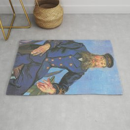 Vincent van Gogh - Portrait of Joseph Roulin sitting at a table (1888) Rug