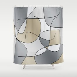 ABSTRACT CURVES #1 (Grays & Beiges) Shower Curtain