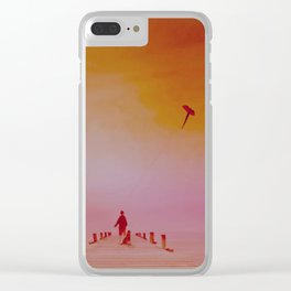 Boy with kite and dog Clear iPhone Case