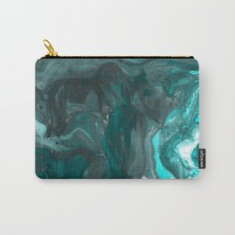 Dark Clouds Gathering - Teal & Grey Marbling Carry-All Pouch