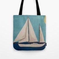 nursery Tote Bags featuring Nursery Sailboat by Melanie Russo