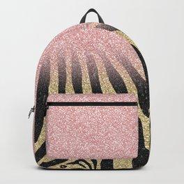 Girly Rose Gold Glitter Sparkles Black Zebra Print Backpack