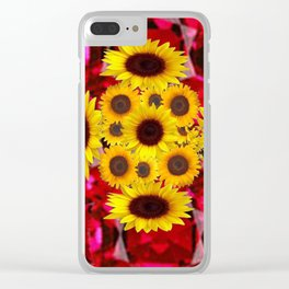 JULY RUBY RED GEMSTONES & YELLOW FLOWERS Clear iPhone Case