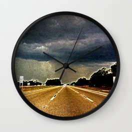 Florida highway rainstorm - grainy photography - moody art - Florida poster Wall Clock