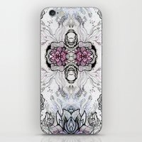 duvet cover iPhone & iPod Skins featuring Flower Duvet Cover by Tintedfaint