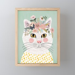 White flowers with floral crown Framed Mini Art Print