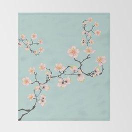 Sakura Cherry Blossoms x Mint Green Throw Blanket