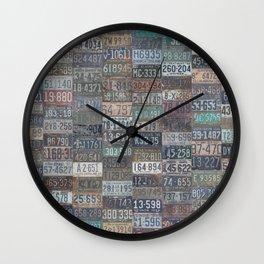 Vintage USA License Plates Wall Clock