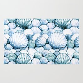 Sea Shells Teal Rug