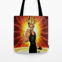 dragonball z Tote Bags featuring Dragonball Z Trunks sketch colored by bernardtime