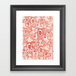 Monsters red kids nursery decor Framed Art Print