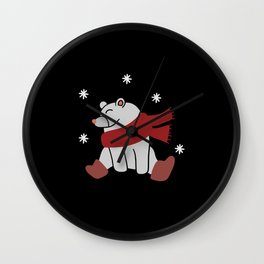 Winter bear shirt Wall Clock