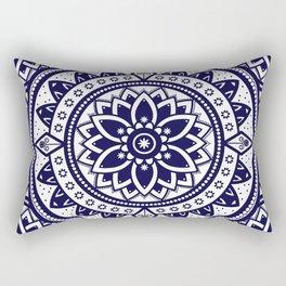 Blue & White Patterned Flower Mandala Design Rectangular Pillow