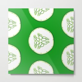 Cucumber slices pattern, green background Metal Print