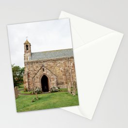 The quintessentially British church of St Mary, on Holy Island in Northumberland. Stationery Cards