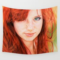 redhead Wall Tapestries featuring Redhead Girl by Samuel Silva