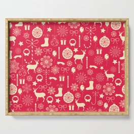 White Objects Christmas Pattern Serving Tray