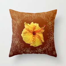 hibiscus into floral frame Throw Pillow