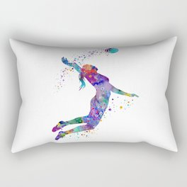Volleyball Girl Colorful Blue Purple Watercolor Artwork Rectangular Pillow