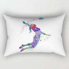 Volleyball Girl Watercolor Art Print Sports Art Painting Home Decor Birthday Gift Rectangular Pillow