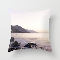Water Washing Over the Rocks at Sunset, Waterville Beach, County Kerry, Ireland Throw Pillow