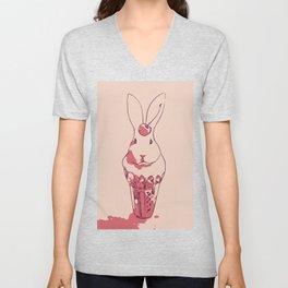 Strawberry Cherry Edition Bunny Ice cream Unisex V-Neck