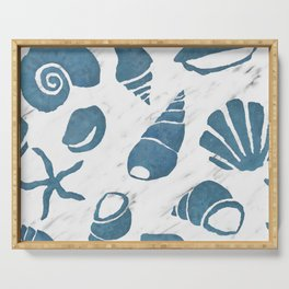 Azure South pacific sea shells - white marble Serving Tray