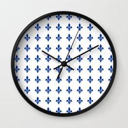 Blue Fleur De Lis Print Wall Clock