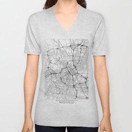 Nashville Map White Unisex V-Neck