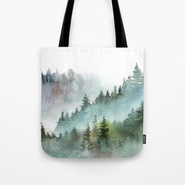 Watercolor Pine Forest Mountains in the Fog Tote Bag