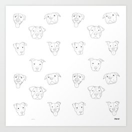 White pit bull love Art Print