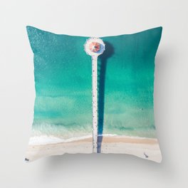 Aerial of Manhattan Beach pier Throw Pillow