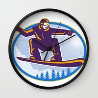 snowboard Wall Clocks featuring Snowboarder Holding Snowboard Retro by patrimonio