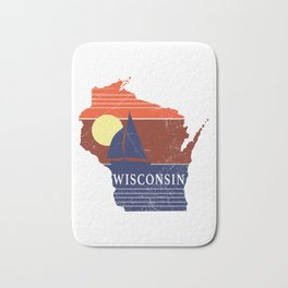 Wisconsin State WI Sailboat Sunset Print Bath Mat