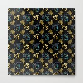 Luxury Ek Onkar / Ik Onkar  Pattern gold and marble Metal Print