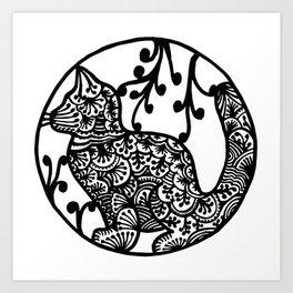 Cat ink draw by WildArtLine Art Print