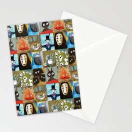 Studio Ghibli Collage - Calcifer, Jiji, Turnip, No Face, Markl, Kodama, Cat Bus & Soot Sprites Stationery Cards