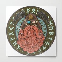Viking Odin - Raven God Warrior Metal Print