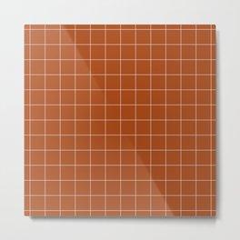 Windowpane Check Grid (white/burnt orange) Metal Print