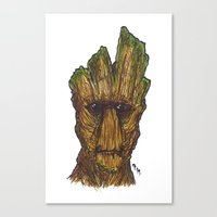 groot Canvas Prints featuring Groot by AgrovatedArt