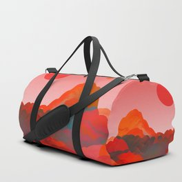 """""""Coral Pink Sci-Fi Mountains"""" Duffle Bag"""