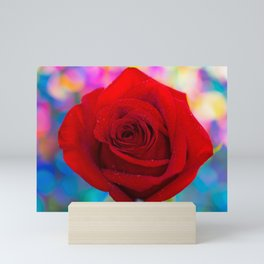 Red Rose and Rainbow Bokeh Mini Art Print