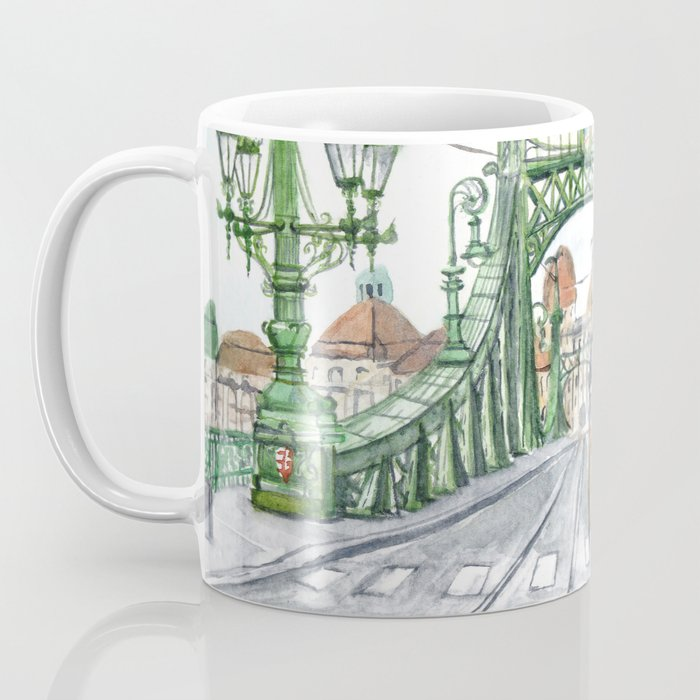 Budapest Hungary Liberty Bridge Painting Coffee Mug