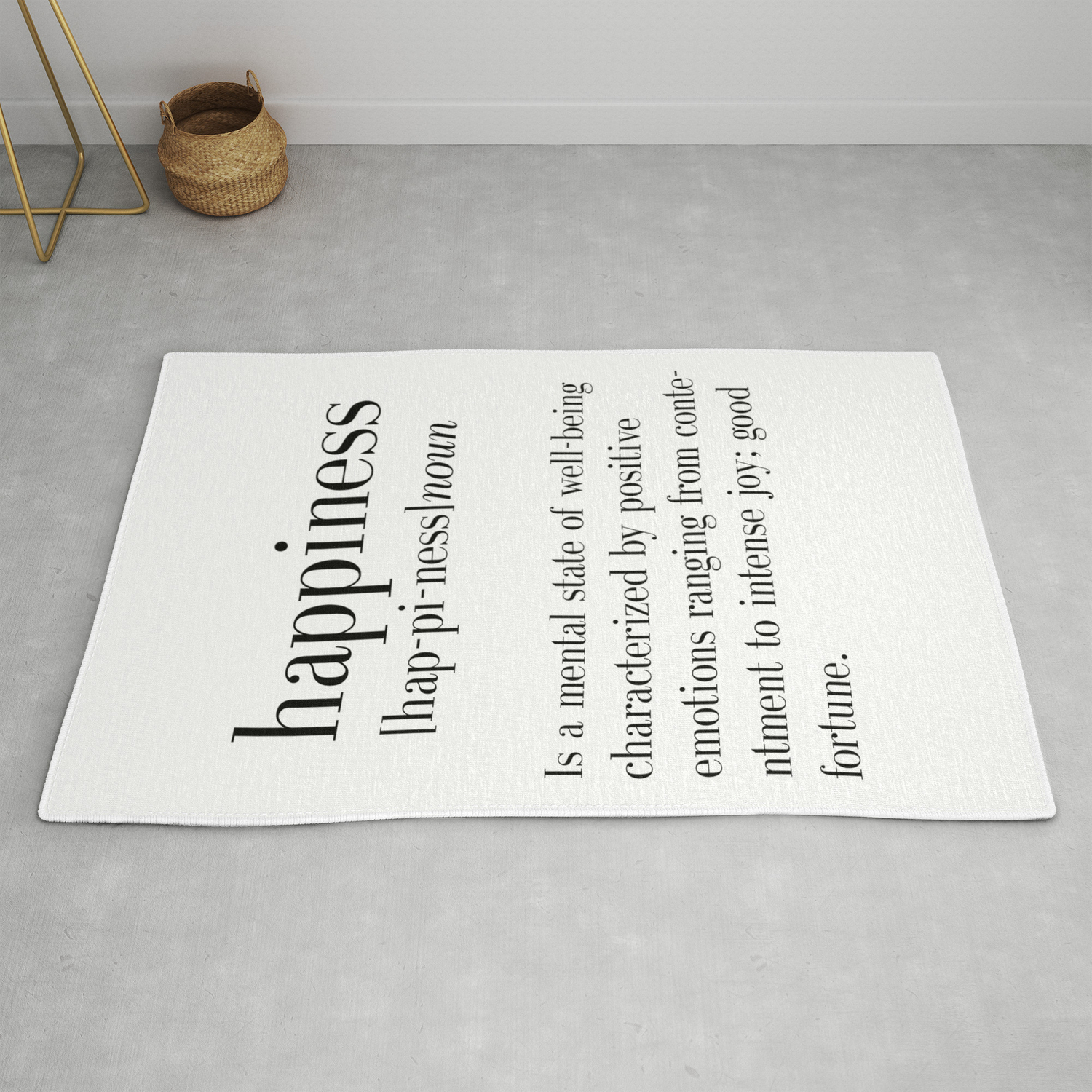 Happiness Definition Adult College Dorm Room Decor Dorm Wall Art Dictionary Art Print Office De Rug By Typodesign Society6