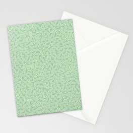 Japanese Scroll Pattern in Green & Yellow Stationery Cards