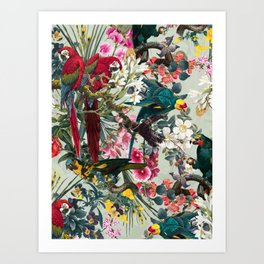 FLORAL AND BIRDS XXII Art Print