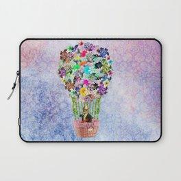 Teal Pink Vintage whimsical cat floral Air balloon Laptop Sleeve