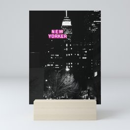 new york city Black & White + Pink Mini Art Print