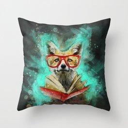 Fox Reader Throw Pillow