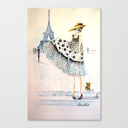 A Girl, Her Dress, And Her Yorkie Canvas Print